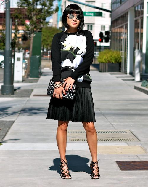 Altuzarra x Target sweater ,  Club Monaco skirt,  Prabal Gurung x Target shoes, Chanel bag,  Dior sunglasses