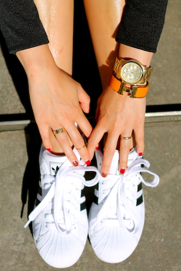 Adidas shoes, Cartier,  Brandy Pham  and my own rings , Michael Kors  watch, Hermes bracelet