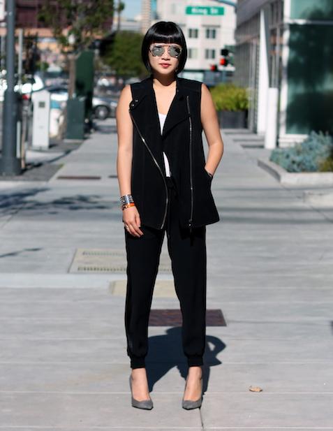 Club Monaco vest  and tshirt,  Vince pants , Giuseppe Zanotti c/o DSW shoes,  Dior Sunglasses