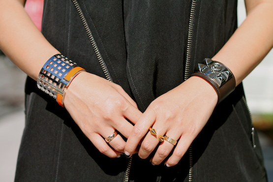 Svelte Metals and Hermes bracelets, Vita Fede, Cartier and my own rings