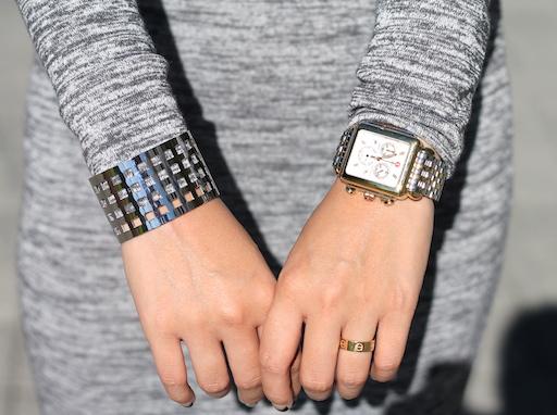 Svelte Metals cuff ,  Michele watch , Cartier ring