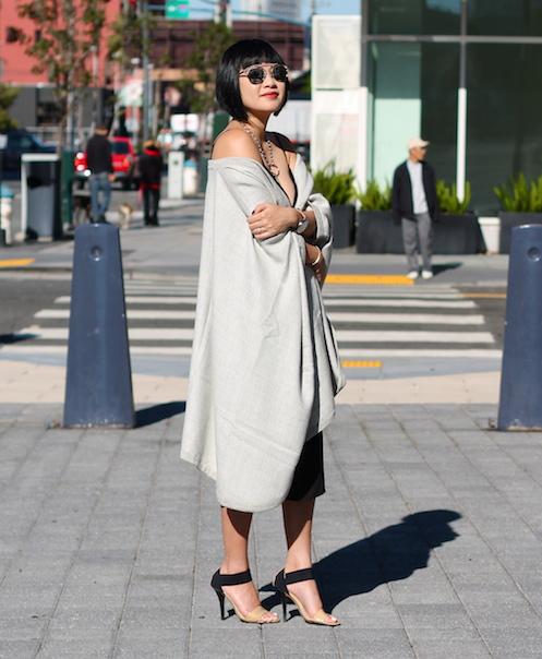 Babaton dress ,  cape c/o Cuyana , Michael Kors shoes,  Dior sunglasses
