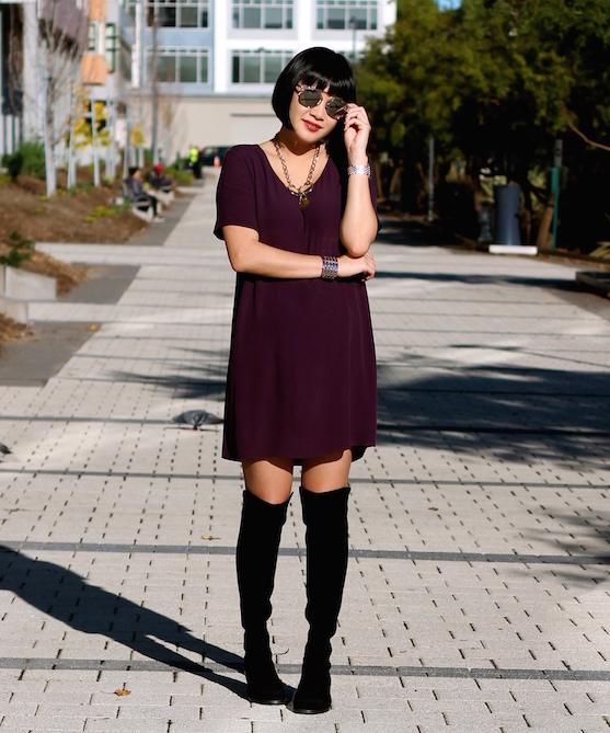 Wilfred Free Dress ,  Stuart Weitzman boots ,  Dior sunglasses ,  Rodarte necklace