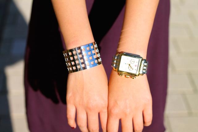 Svelte Metals cuff ,  Michele watch