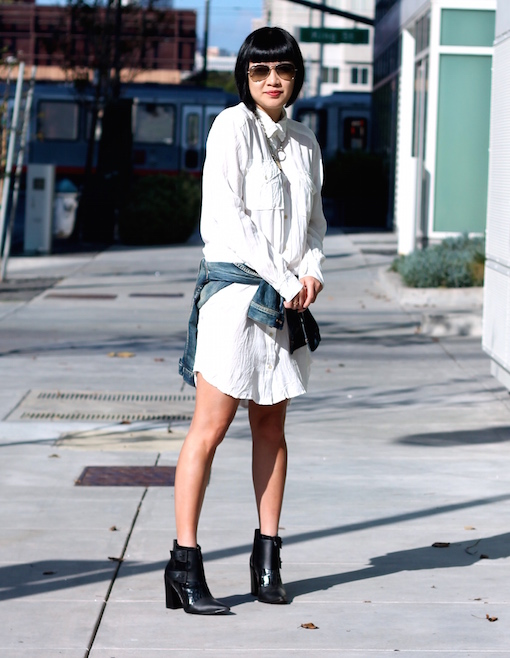 Aritzia Wilfred dress ,  Madewell denim jacket ,  Tibi booties ,  Ray-Ban sunglasses