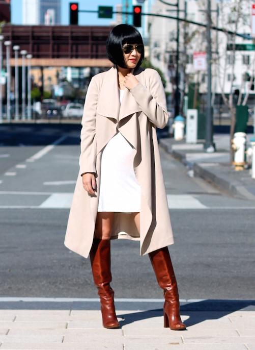 Club Monaco trench coat ,  Reformation dress , Tory Burch boots,  Ray-Ban sunglasses