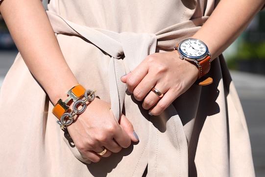 Hermes, David Yurman bracelets,  Shinola watch , my own rings