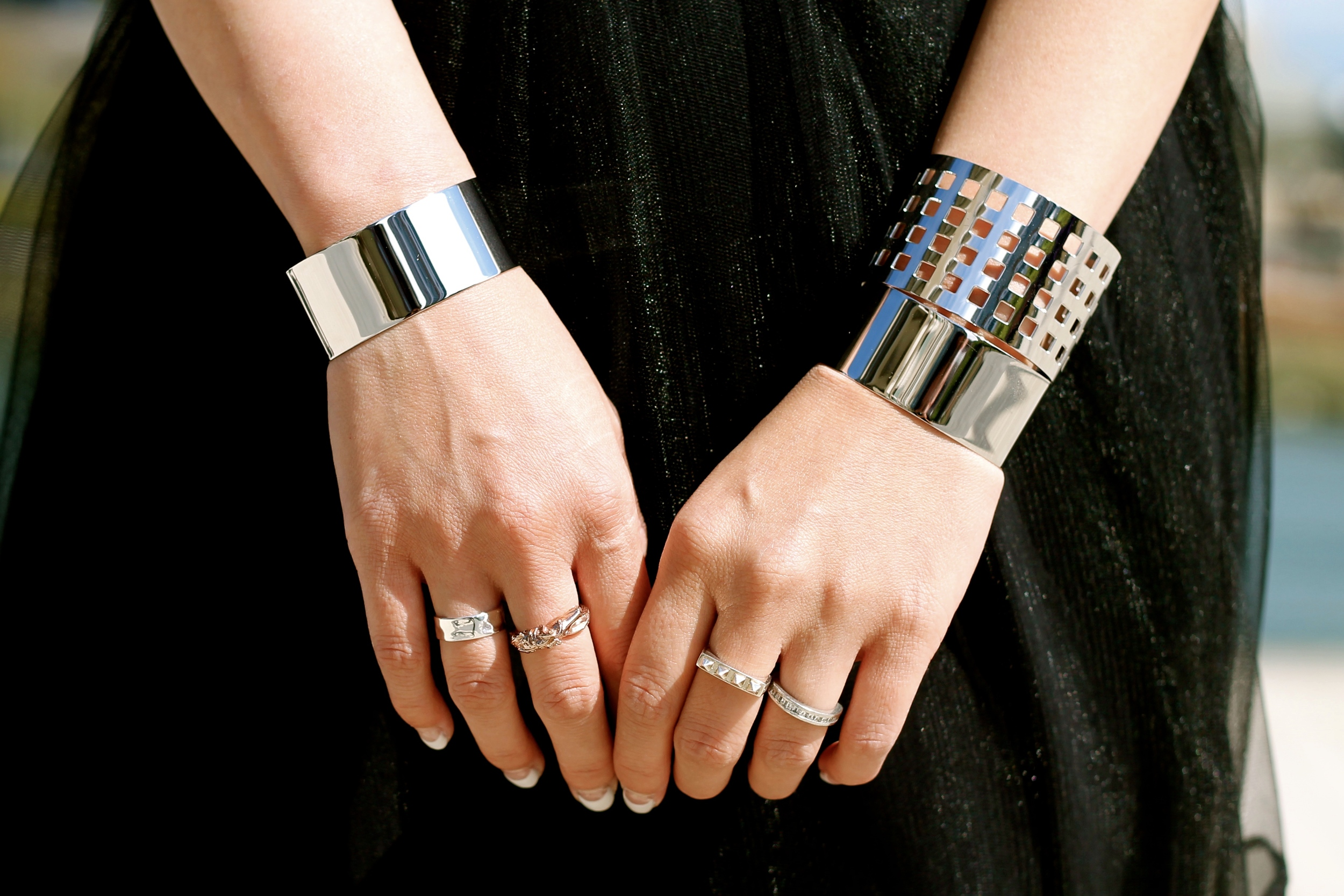 Svelte Metals cuffs and rings, my own rings