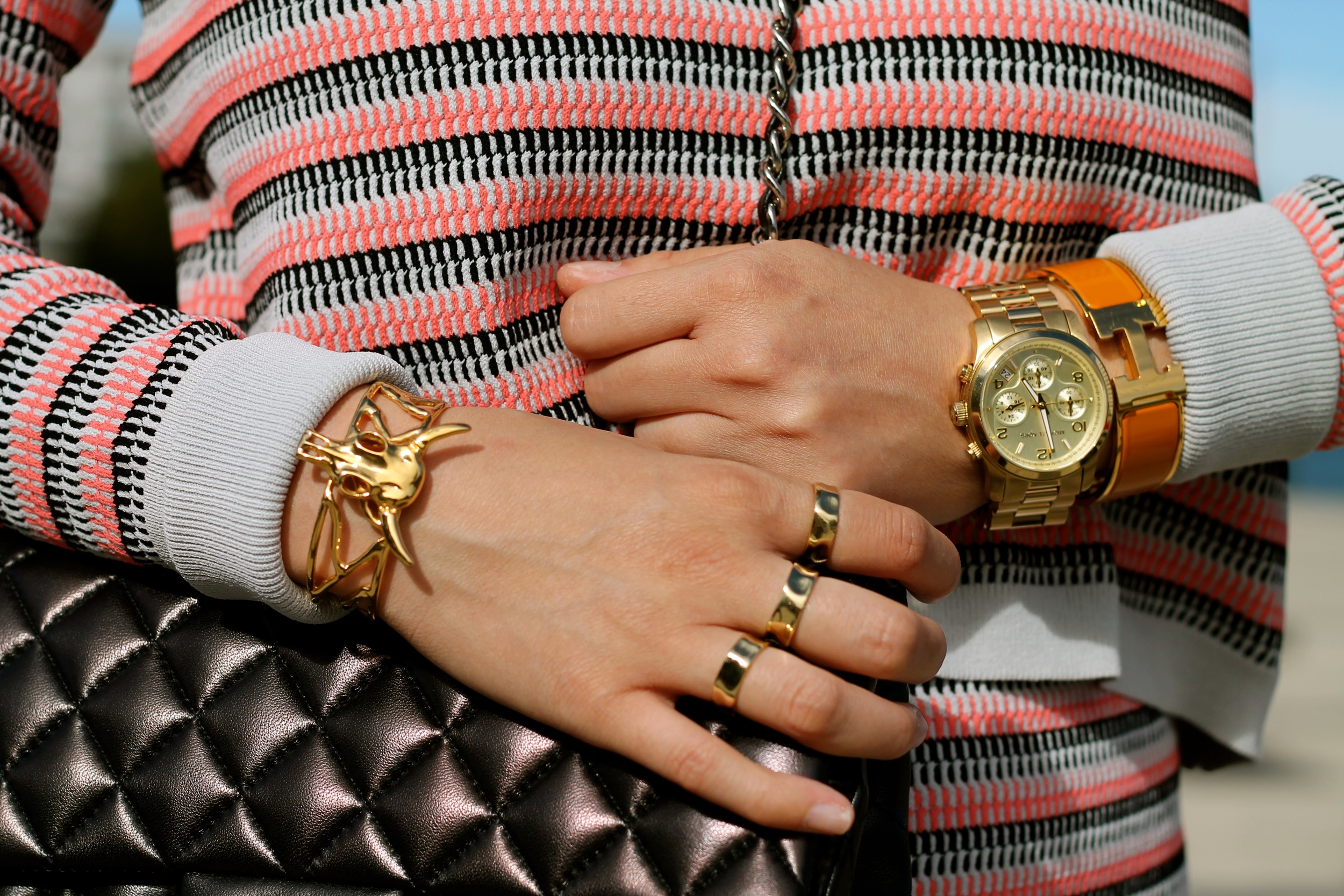 Svelte Metals and Hermes bracelet, Michael Kors watch, my own rings