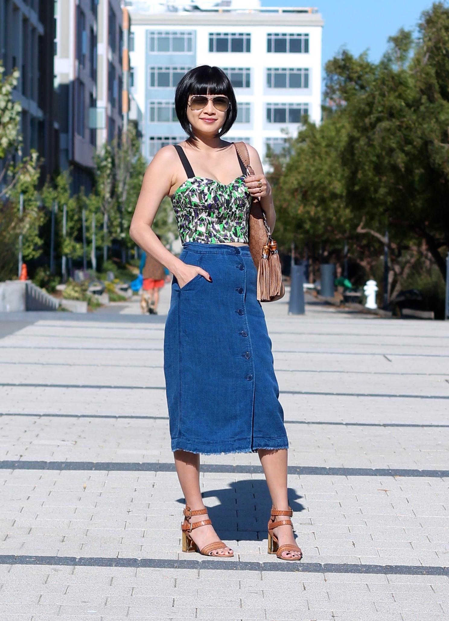 Club Monaco top, Aritzia skirt, Dolce Vita shoes, Gucci bag