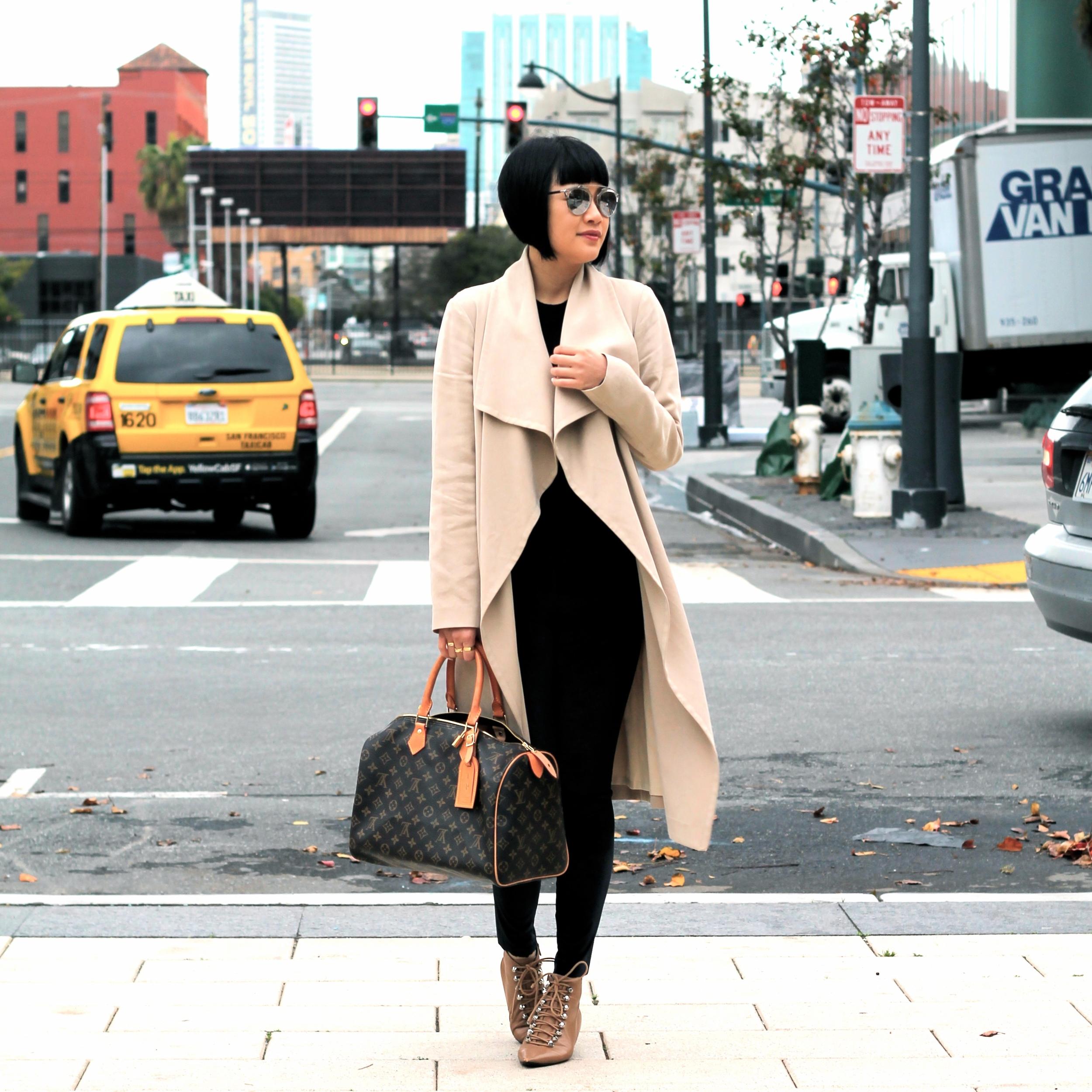 Club Monaco coat, Aritzia sweater and leggings, Balenciaga shoes, Louis Vuitton bag, Dior sunglasses