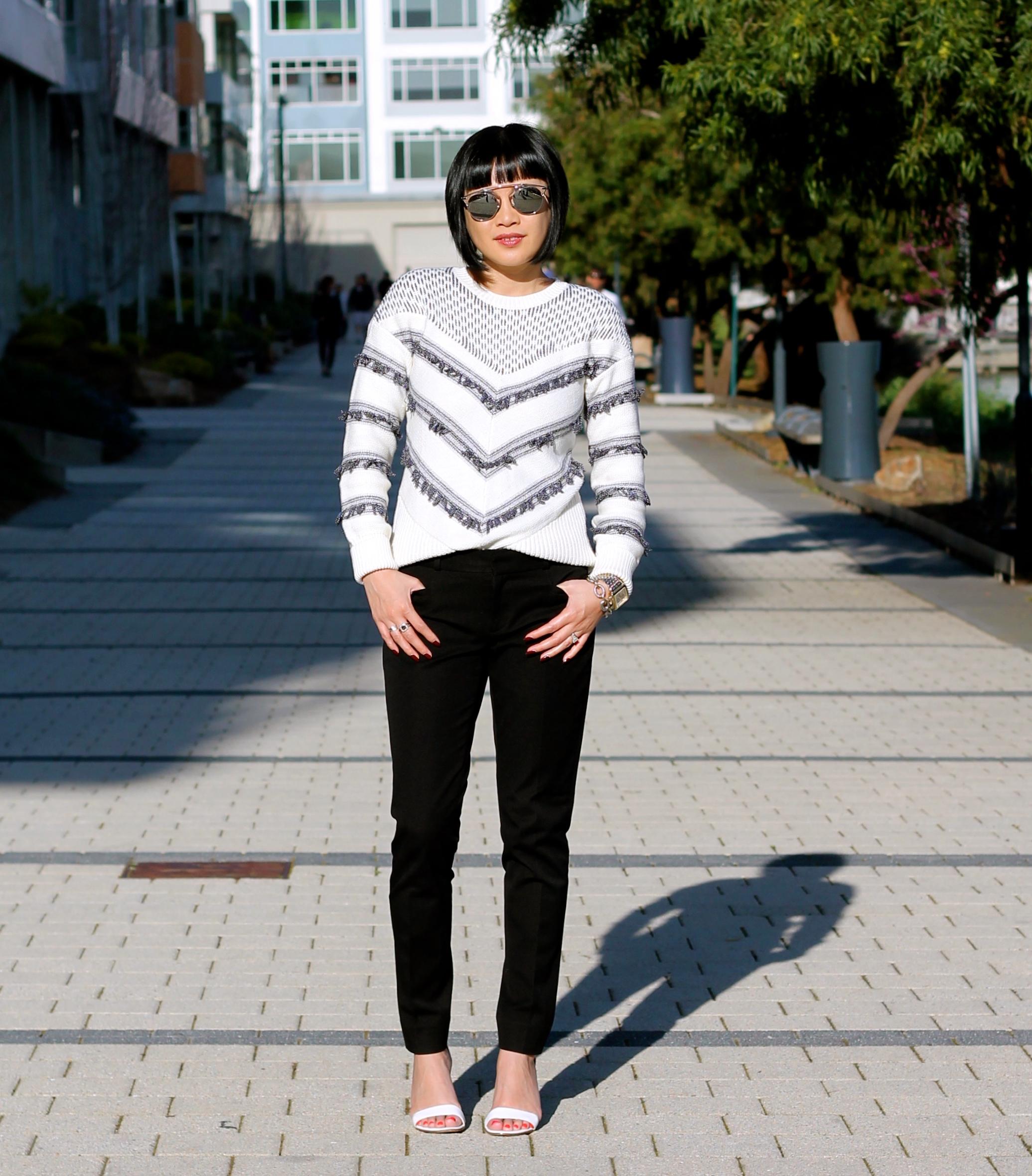 Sweater  and  pants  Banana Republic, Via Spiga shoes, Dior sunglasses