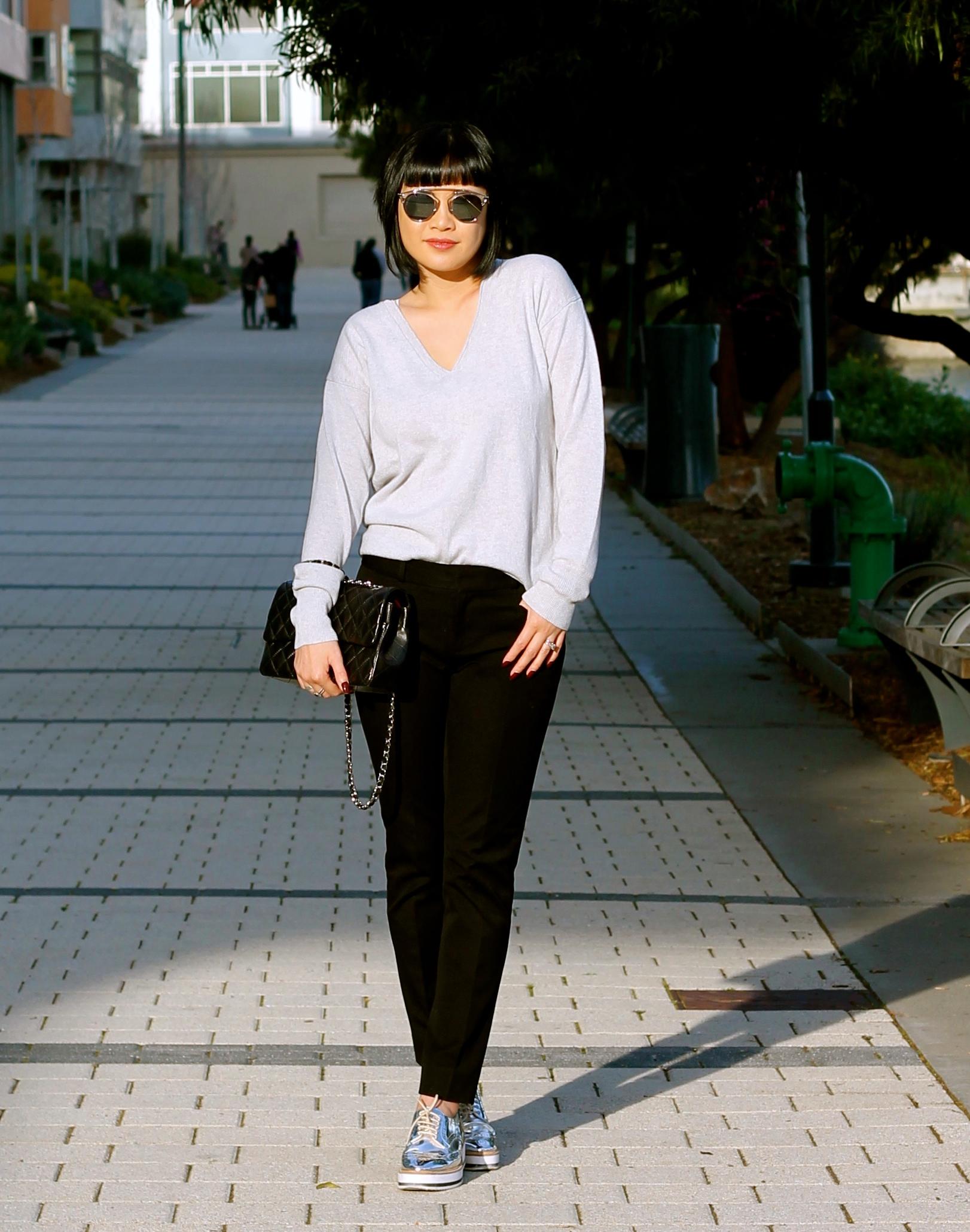 Banana Republic  pants  and  sweater , Zara shoes, Chanel bag, Dior sunglasses