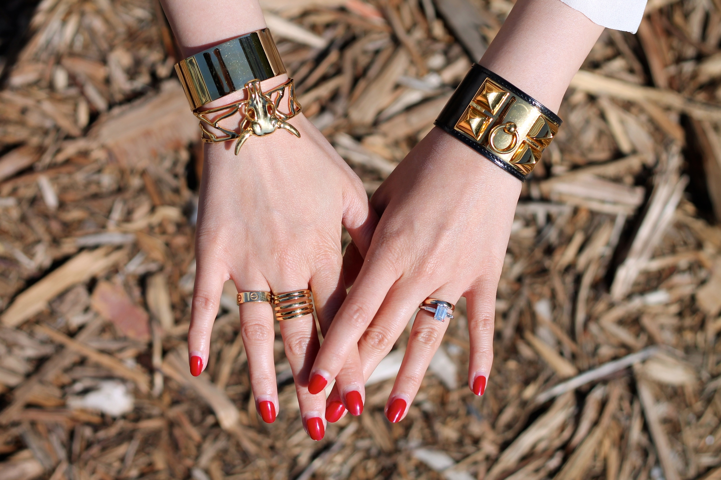 Svelte Metals  and  Hermes  bracelets, Cartier,  Svelte Metals  and my own rings