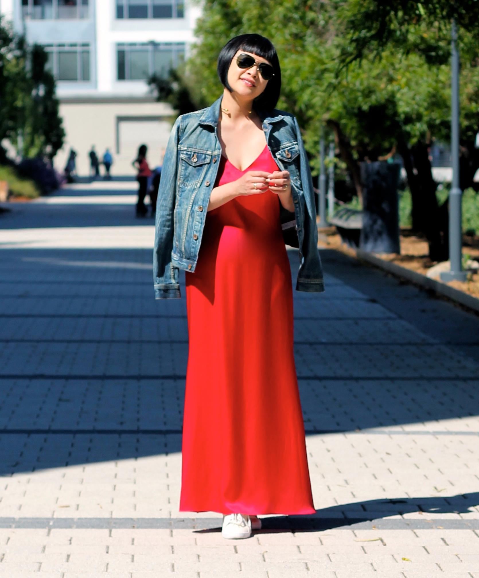 Madewell denim jacket, Reformation dress, Puma shoes, Ray-Ban sunglasses, Svelte Metals necklace