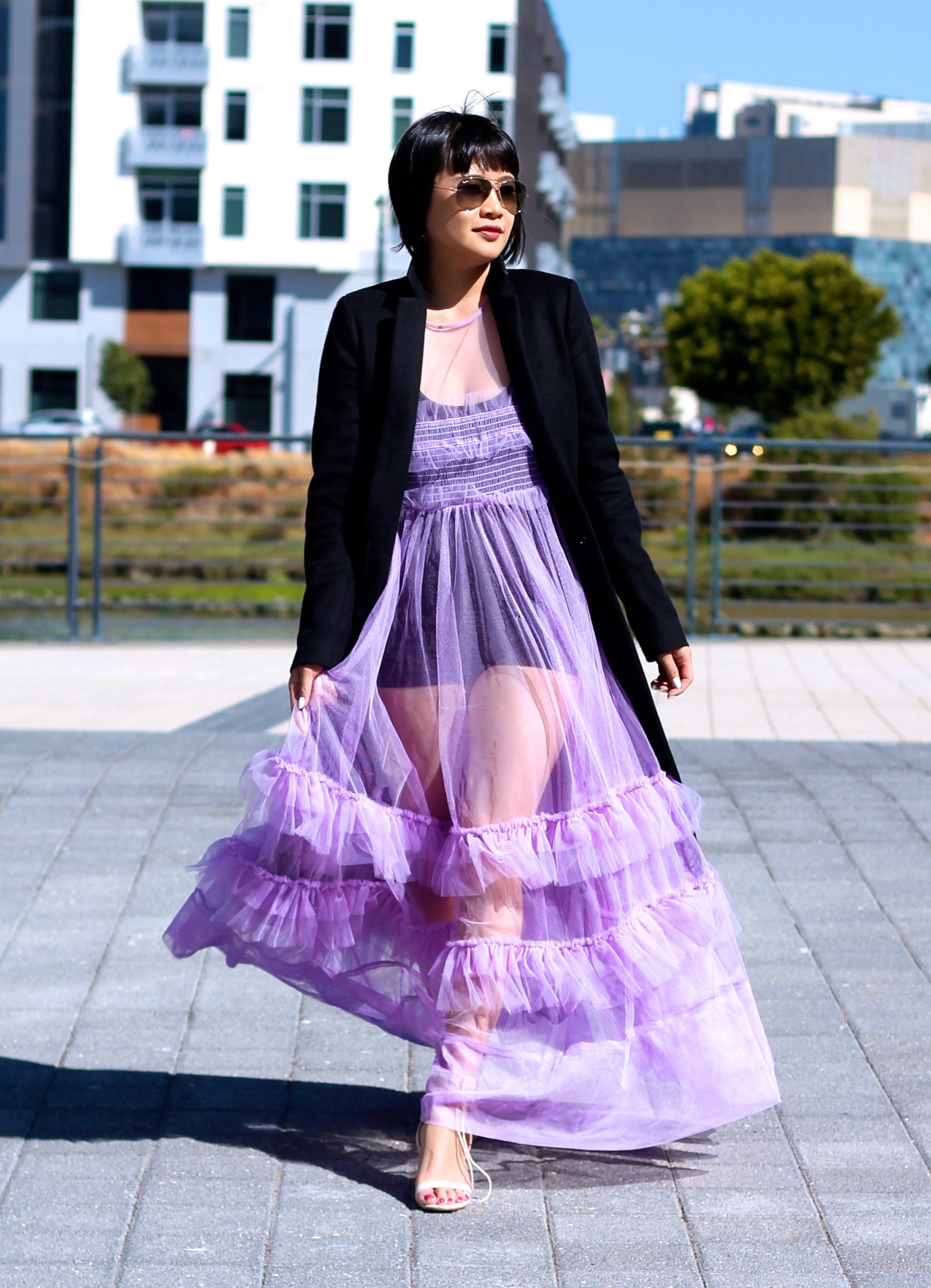 Nasty Gal dress, All Saints jacket, Chinese Laundry shoes, Ray-Ban sunglasses