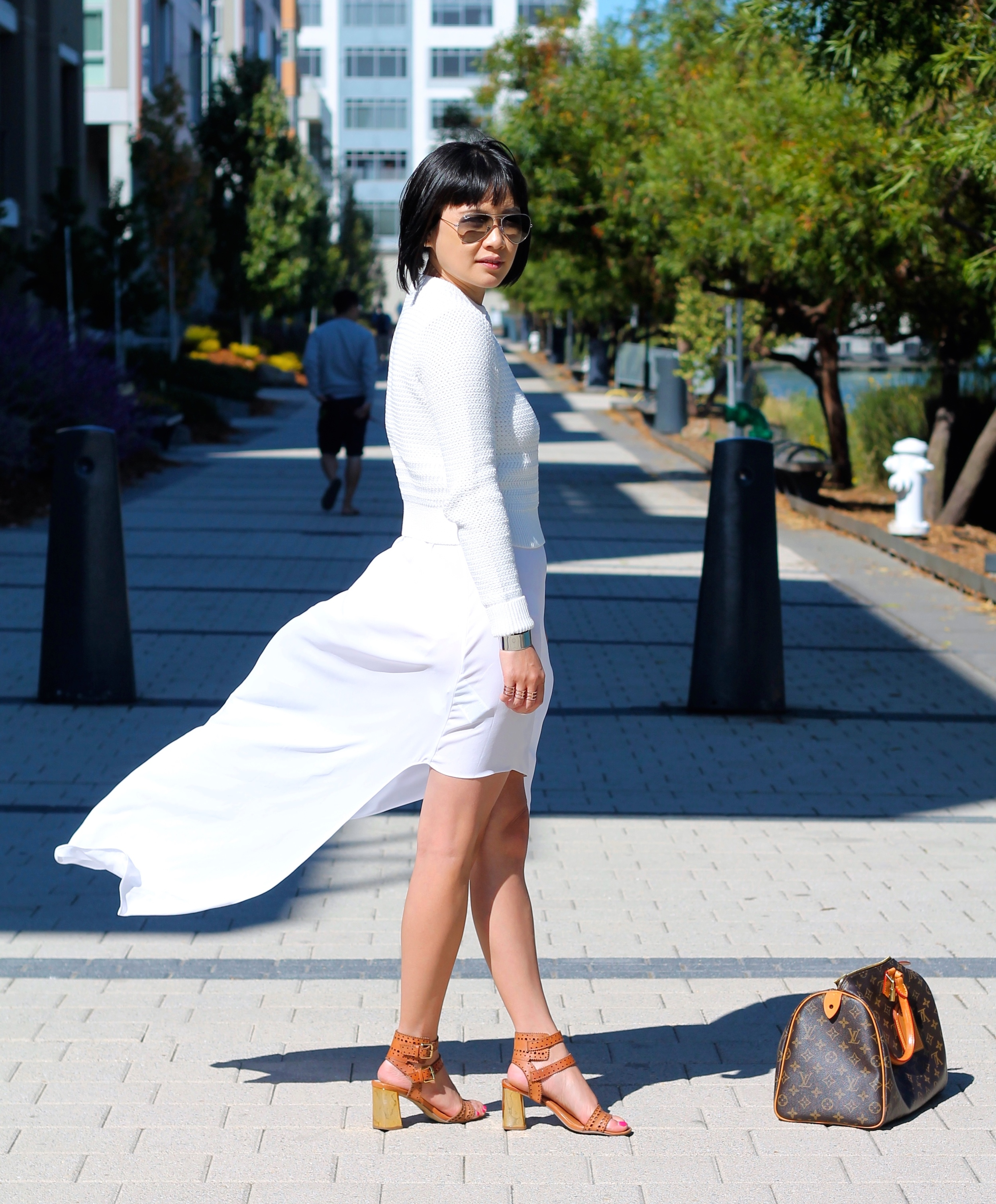Club Monaco sweater, BCBG dress, Dolce Vita shoes, Ray-Ban sunglasses, Louis Vuitton bag