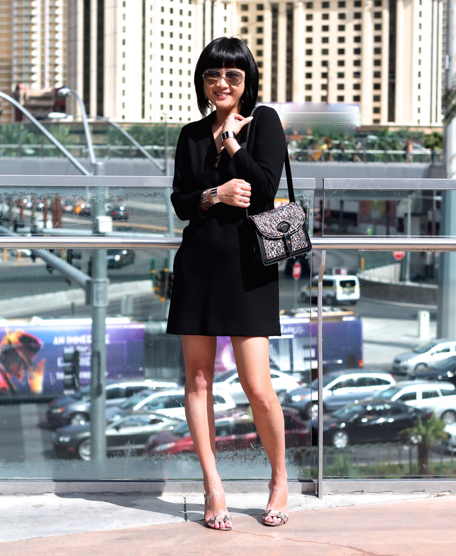 bag c/o Maiyet, Maje dress, Guess shoes, Ray-Ban sunglasses, all Svelte Metals cuffs