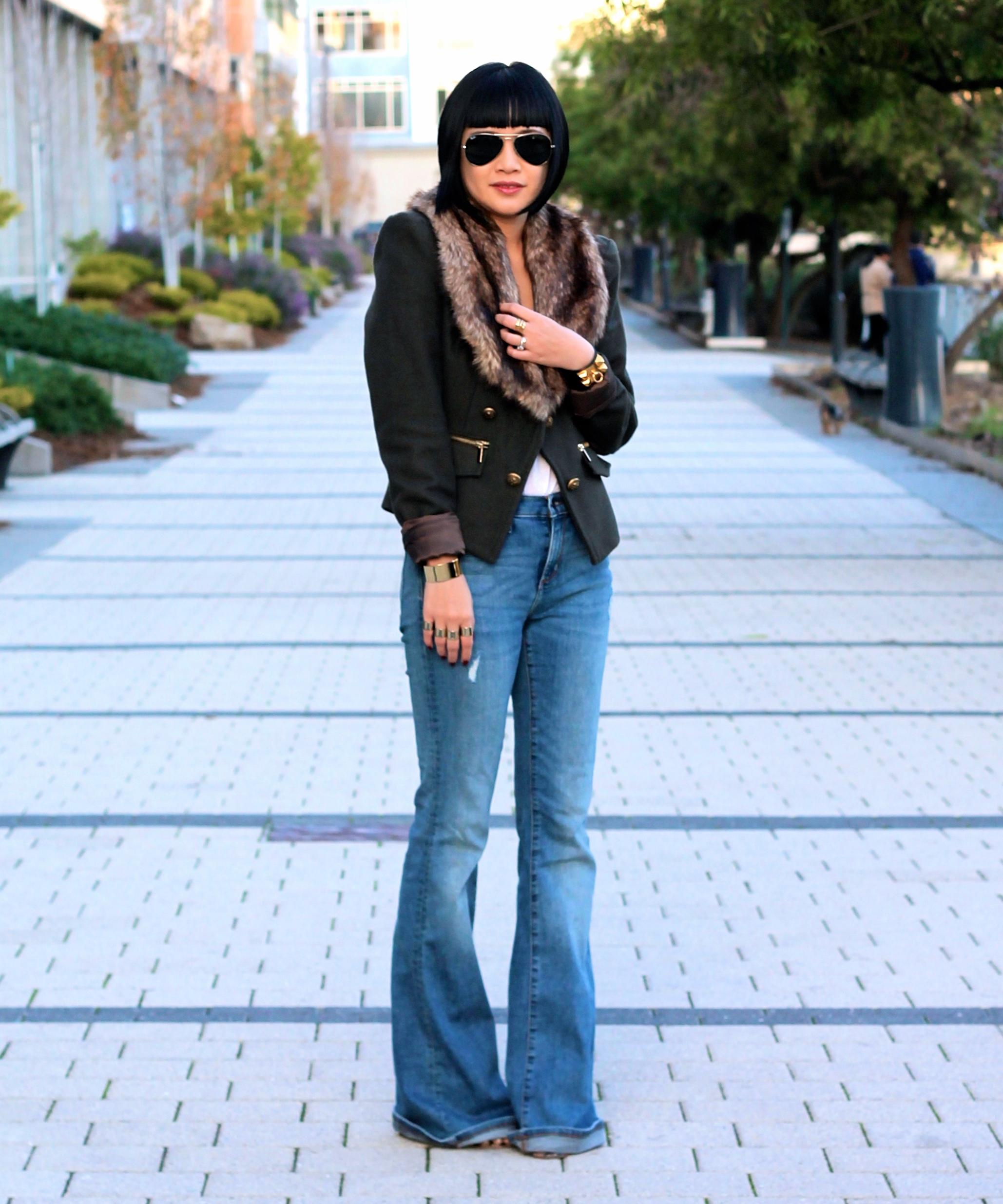 Bebe jacket, Banana Republic jeans, Ray-Ban sunglasses