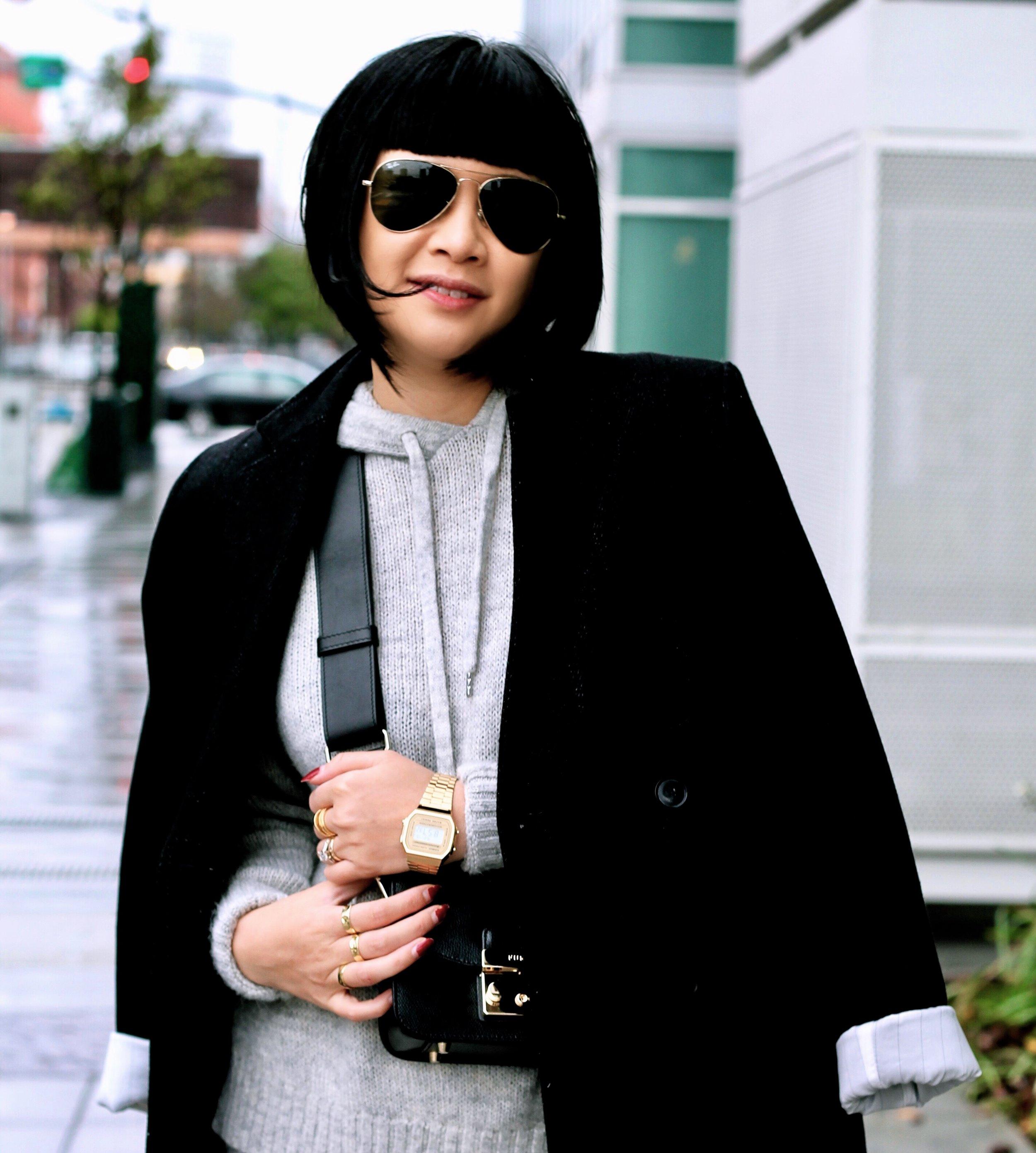Casio watch at Bloomingdale's SF, Furla bag, Whyred coat, Ray-Ban sunglasses, H&M sweater
