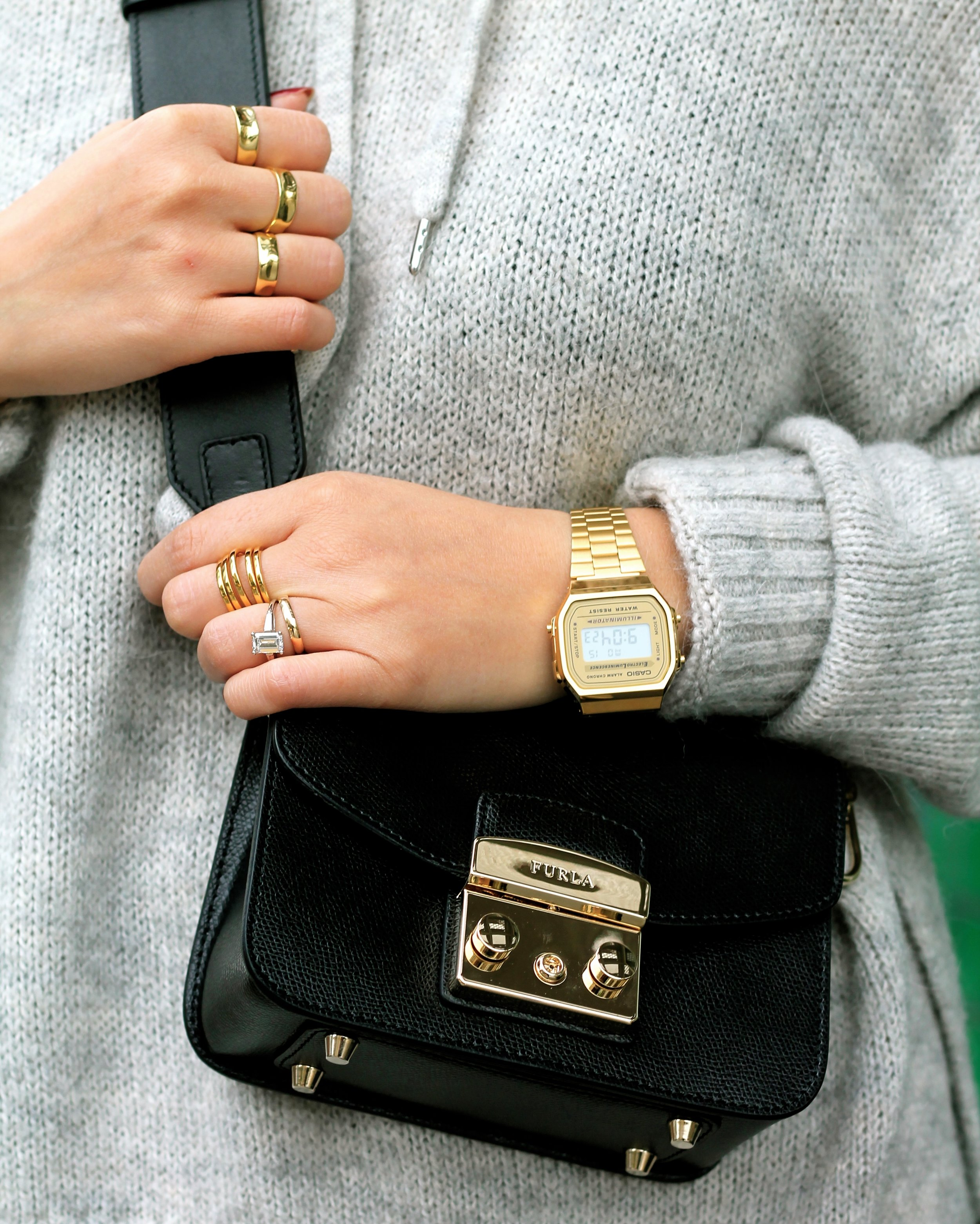 Casio watch, Svelte Metals and my own rings, Furla bag