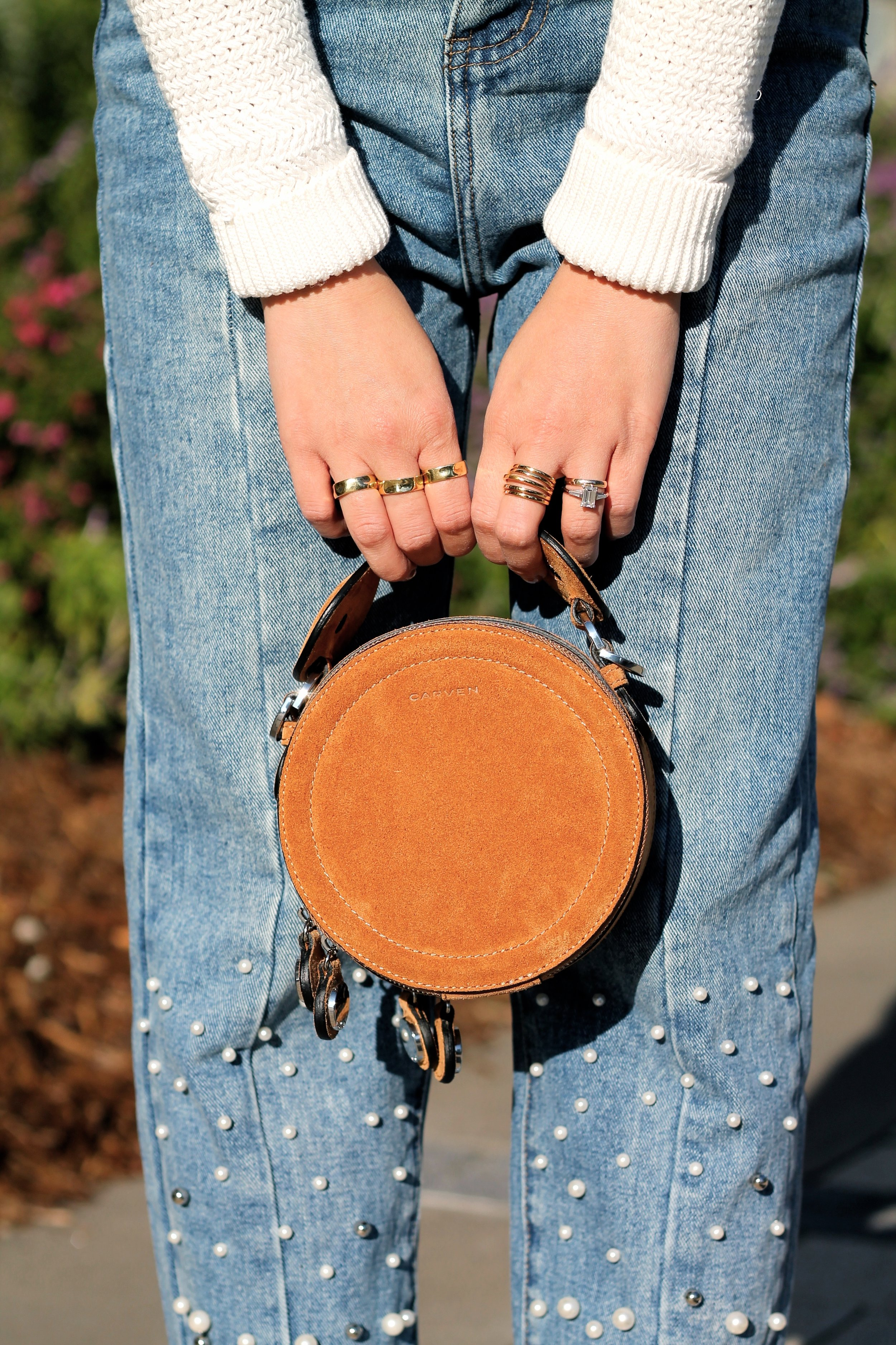 Svelte Metals and my own rings, Carven bag