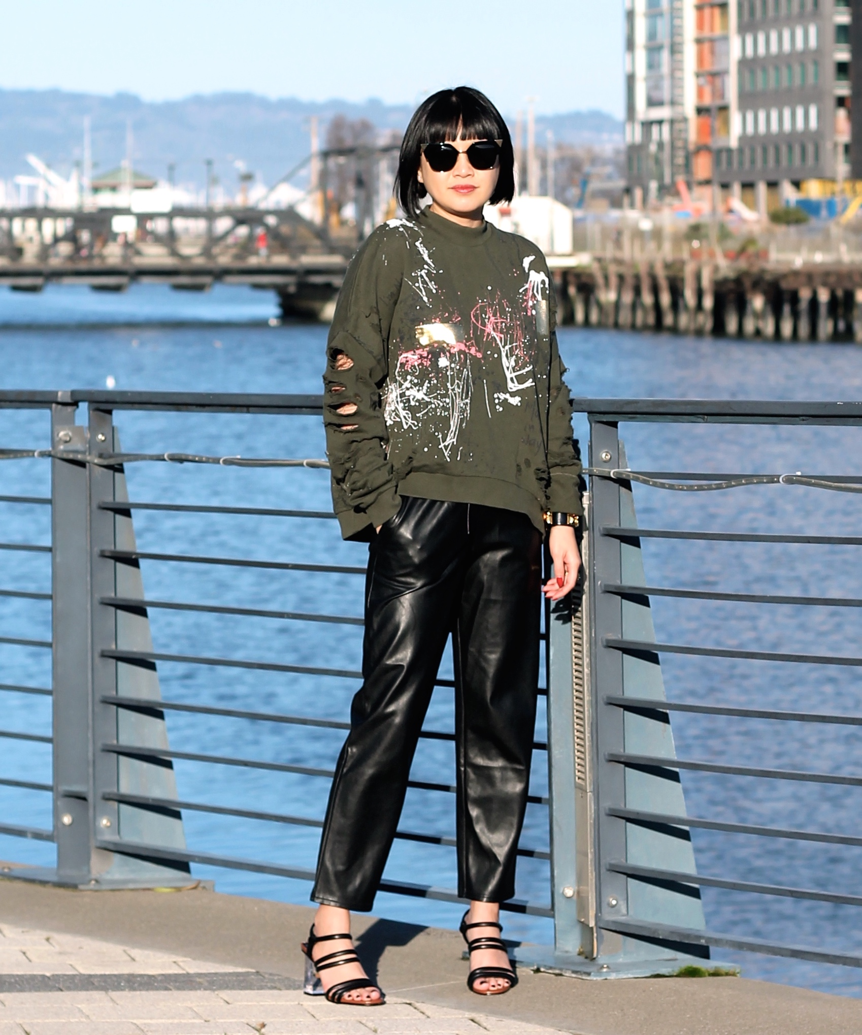 Zara sweater, Aritizia pants, Zara shoes, Fendi sunglasses