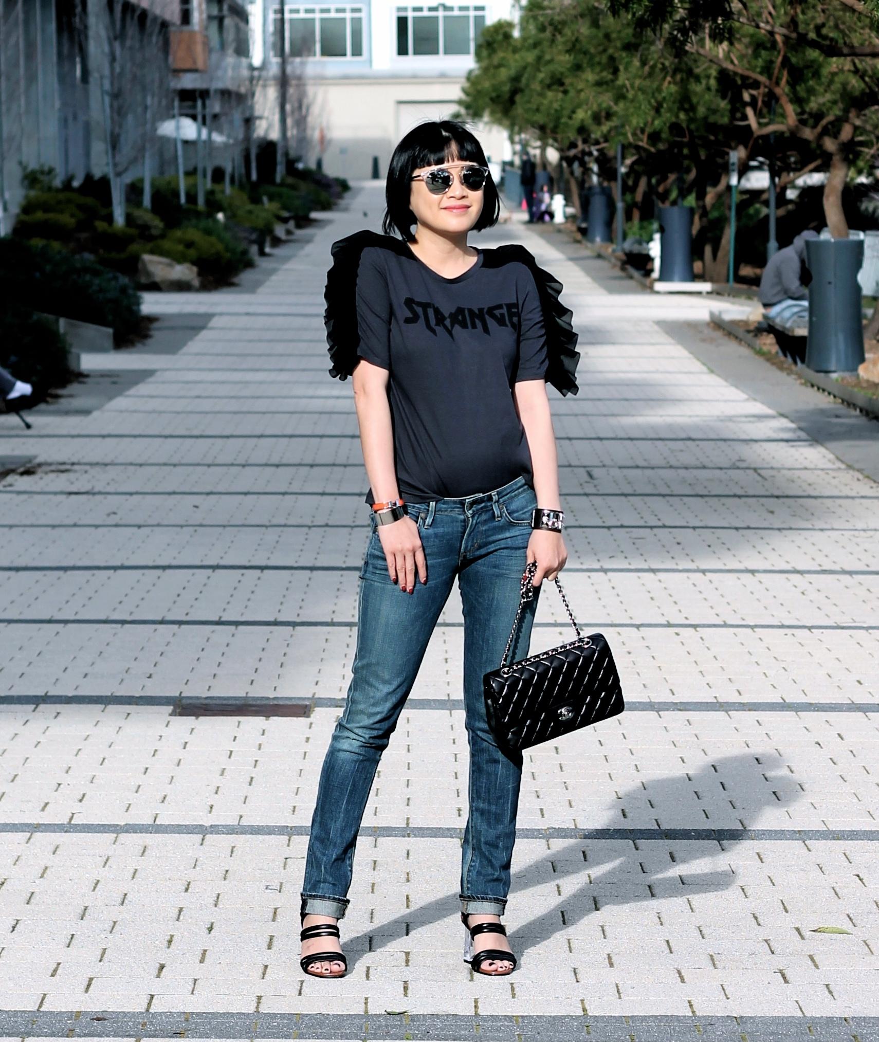 Zara shirt, Citizens of Humanity jeans, Zara sandals, Dior sunglasses, Chanel bag