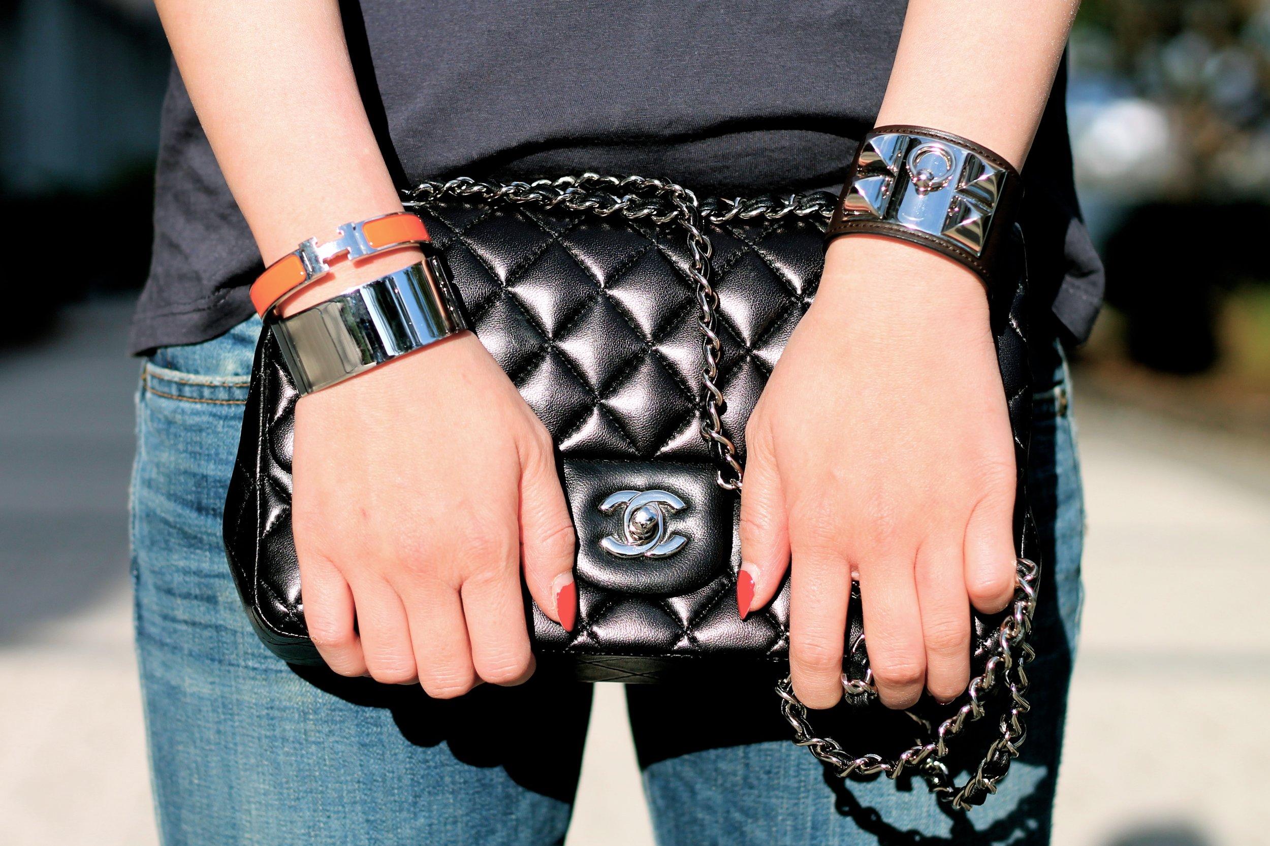 Svelte Metals and Hermes bracelets, Chanel bag
