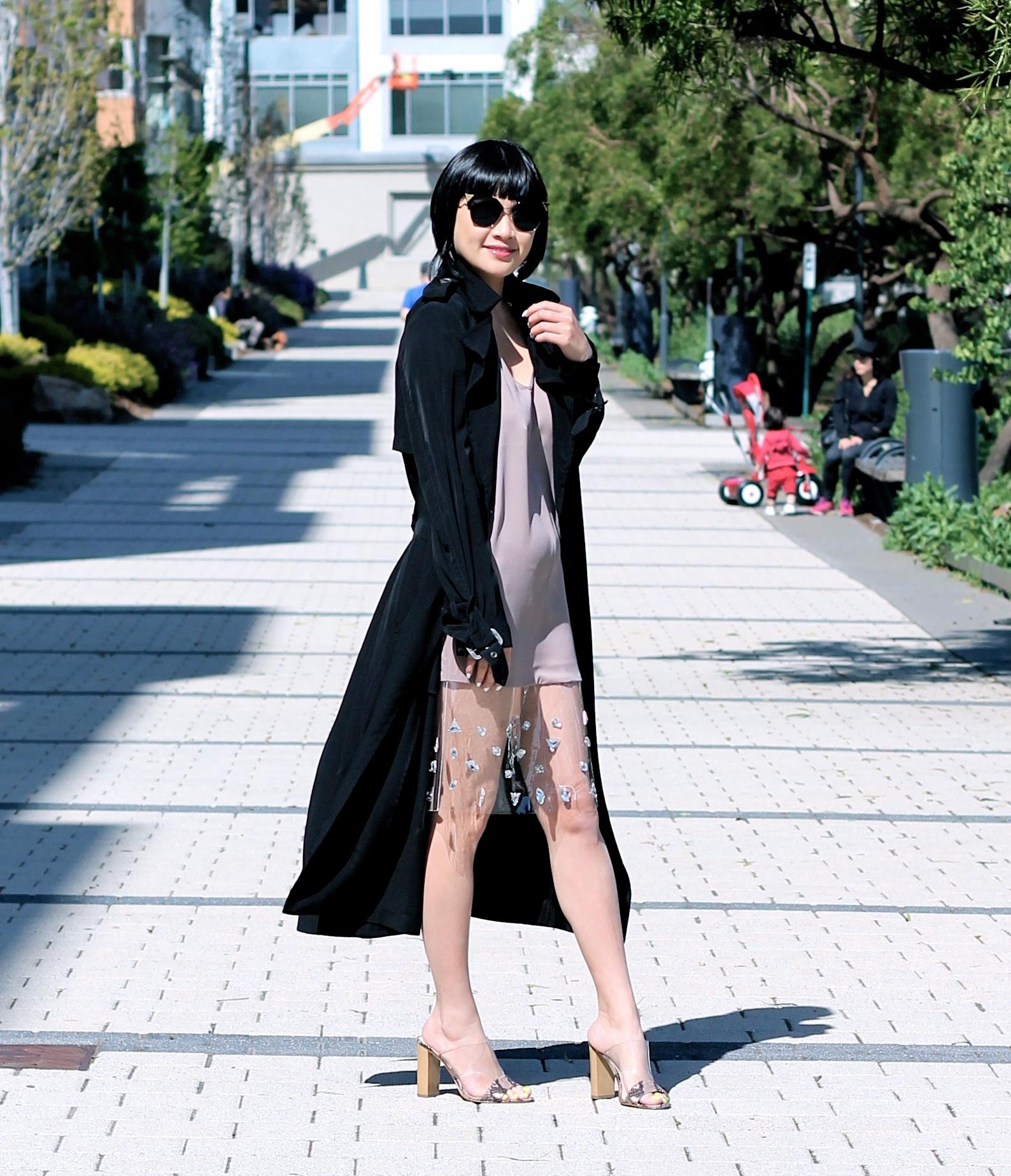 Marciano dress, Zara jacket, Fendi sunglasses, Guess shoes