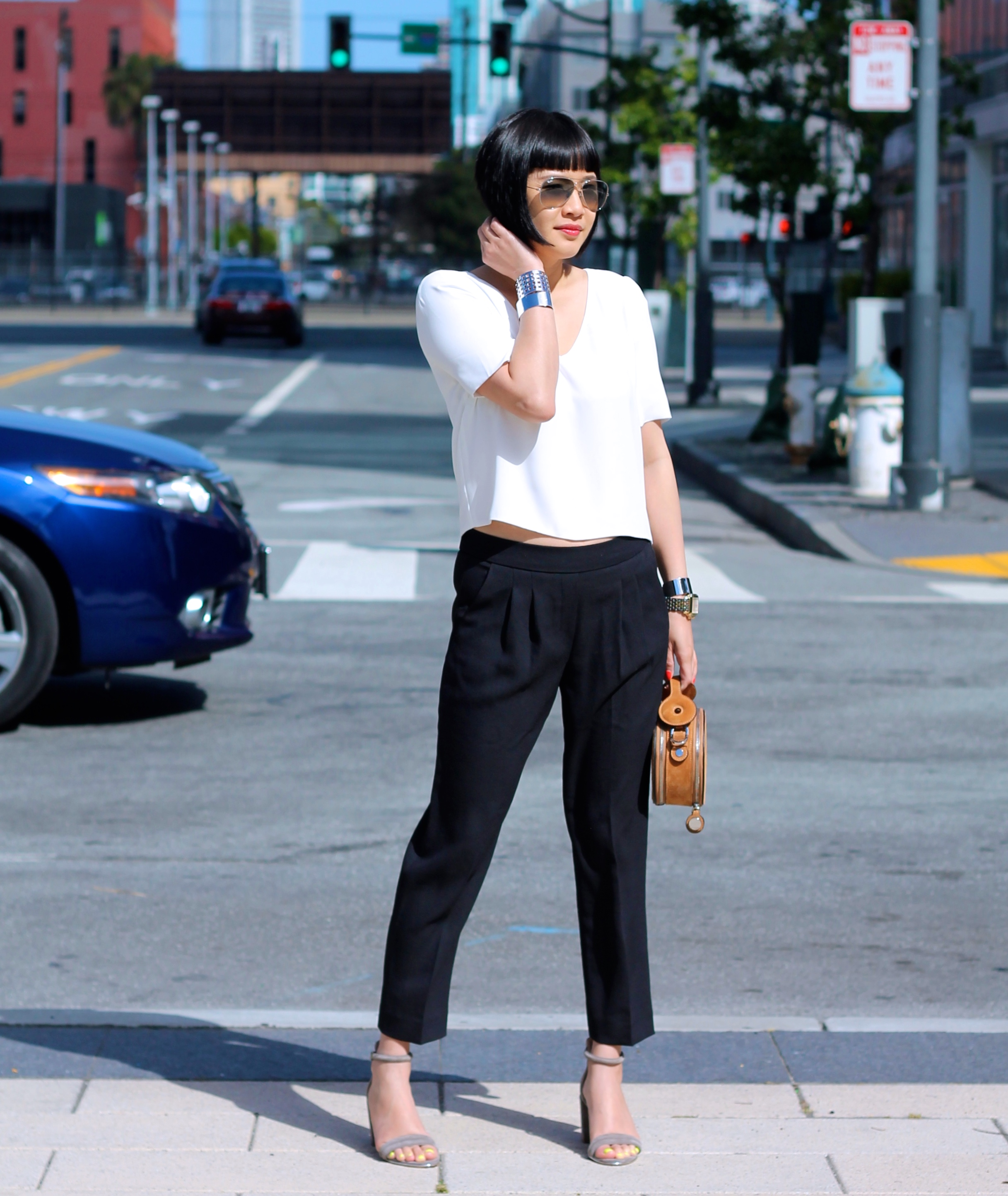 Aritzia shirt and pants, Kenneth Cole shoes, Ray-Ban sunglasses, Carven bag, Svelte Metals cuffs, Michele watch