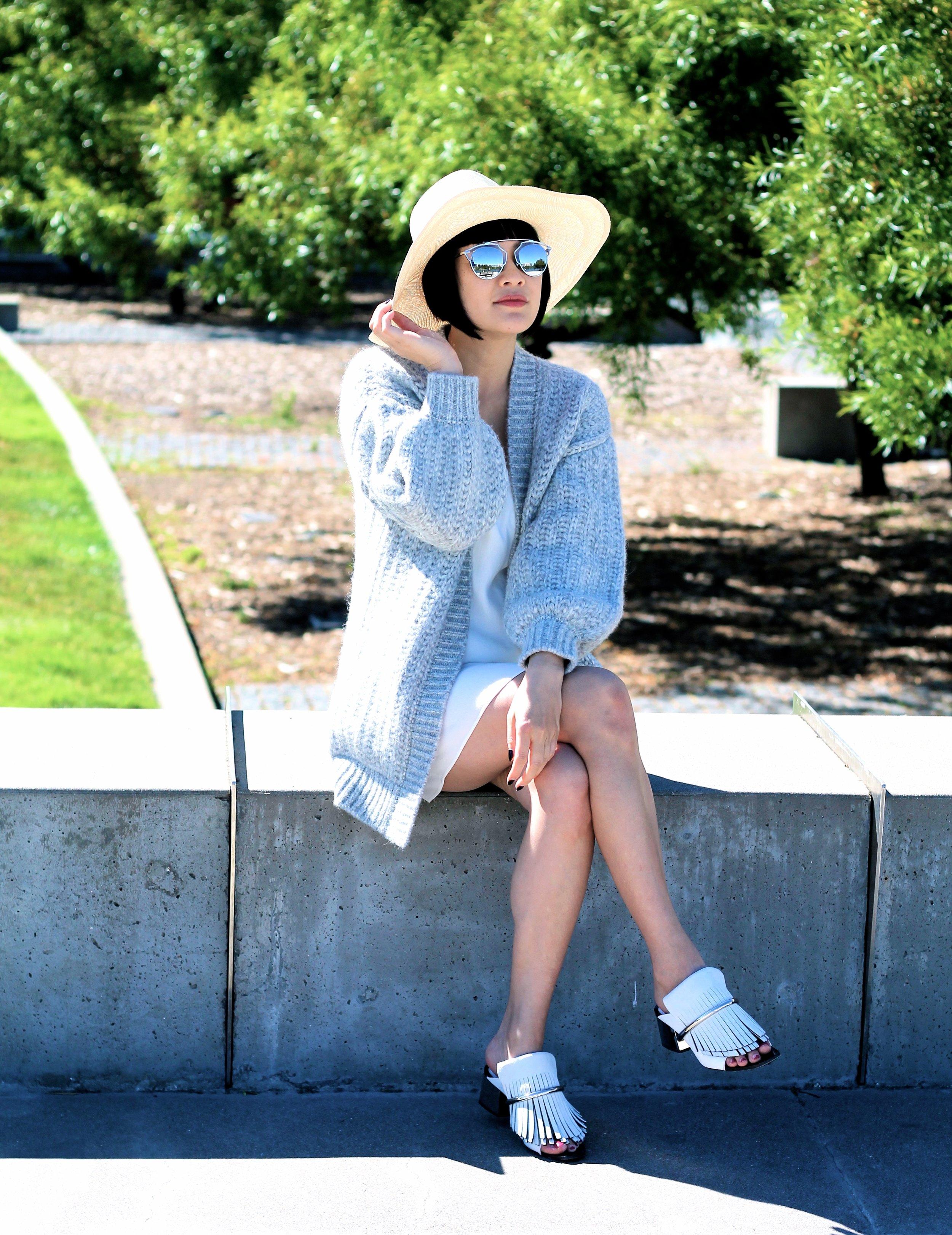 Cuyana  hat  and  sweater  c/o, Proenza Schouler shoes, Aritzia dress, Dior sunglasses