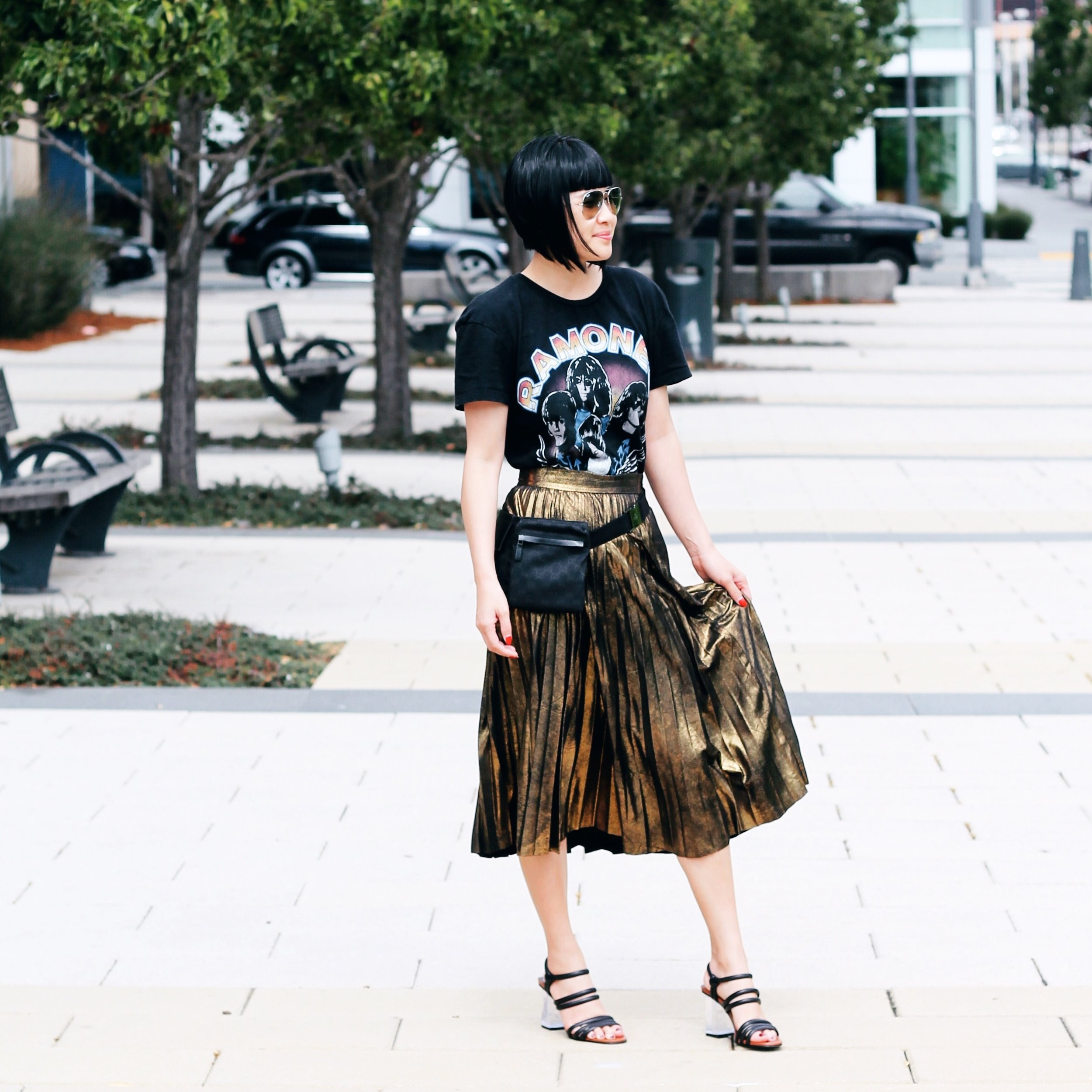 Zara tee, skirt, and shoes, Gucci fanny pack, Ray-Ban sunglasses