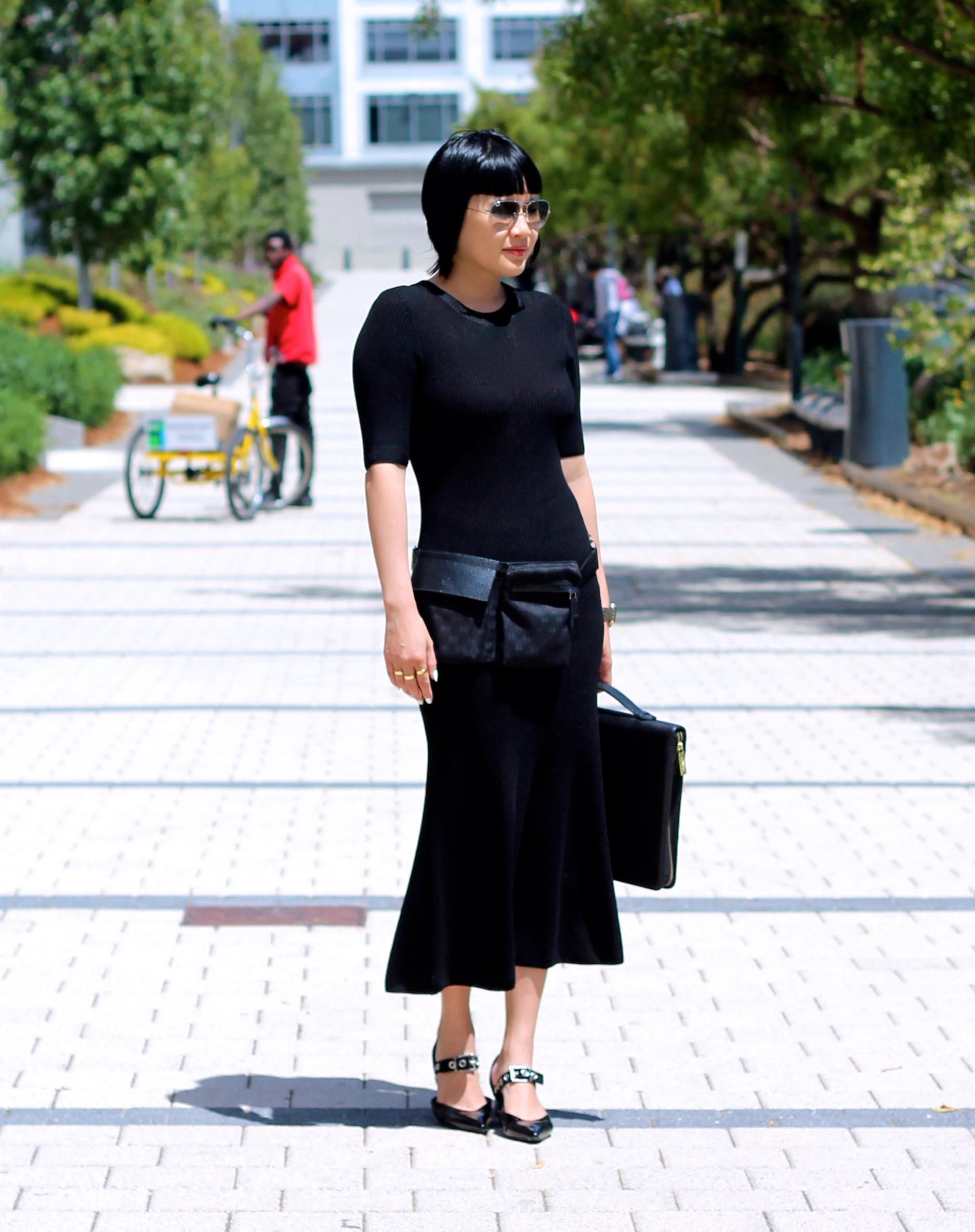 Aritzia dress, Gucci fanny pack, Robert Clergerie shoes c/o Farfetch, Ray-Ban sunglasses, Coach bag