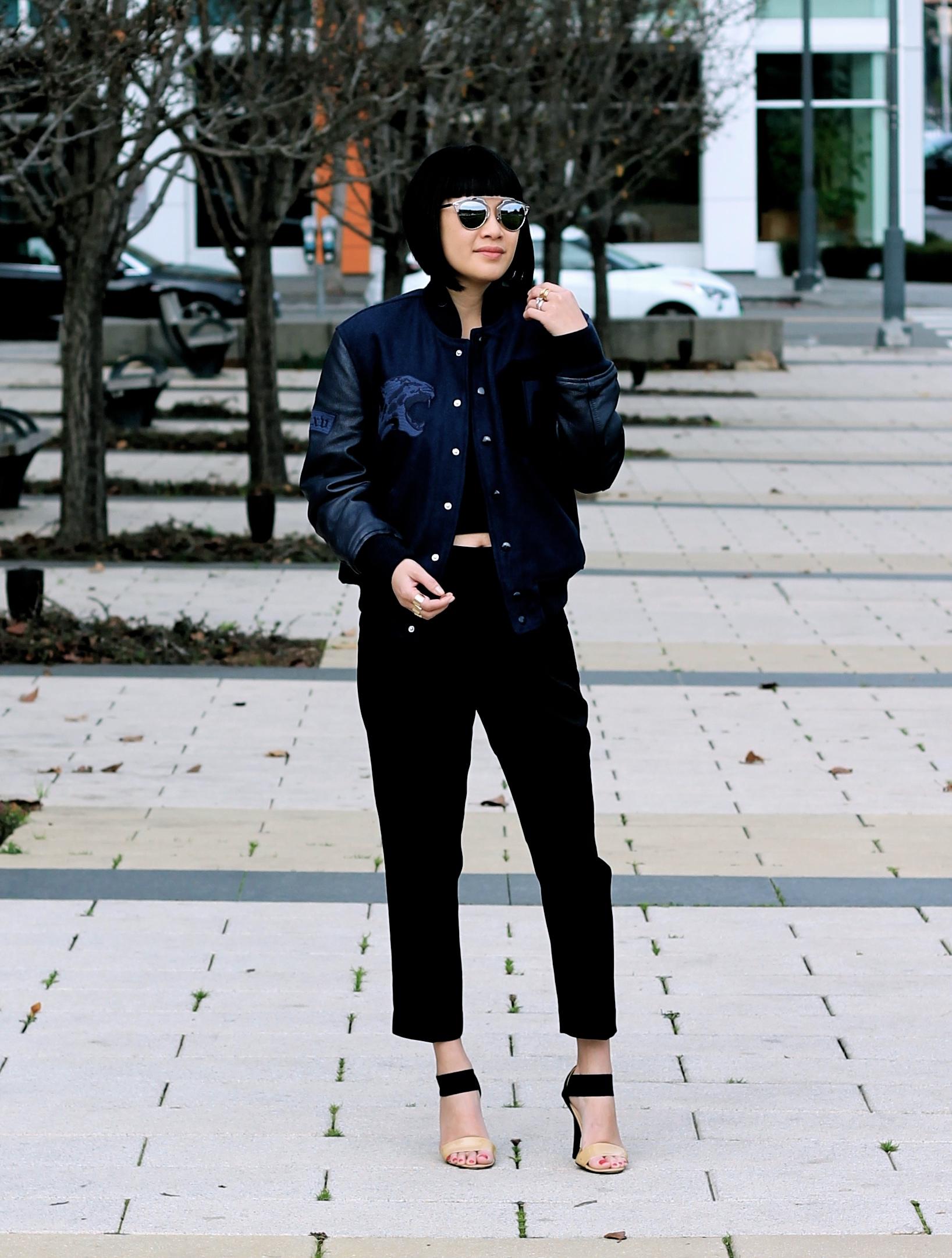 Aritzia jacket and pants, Calvin Klein t-shirt, Michael Kors heels, Dior sunglasses