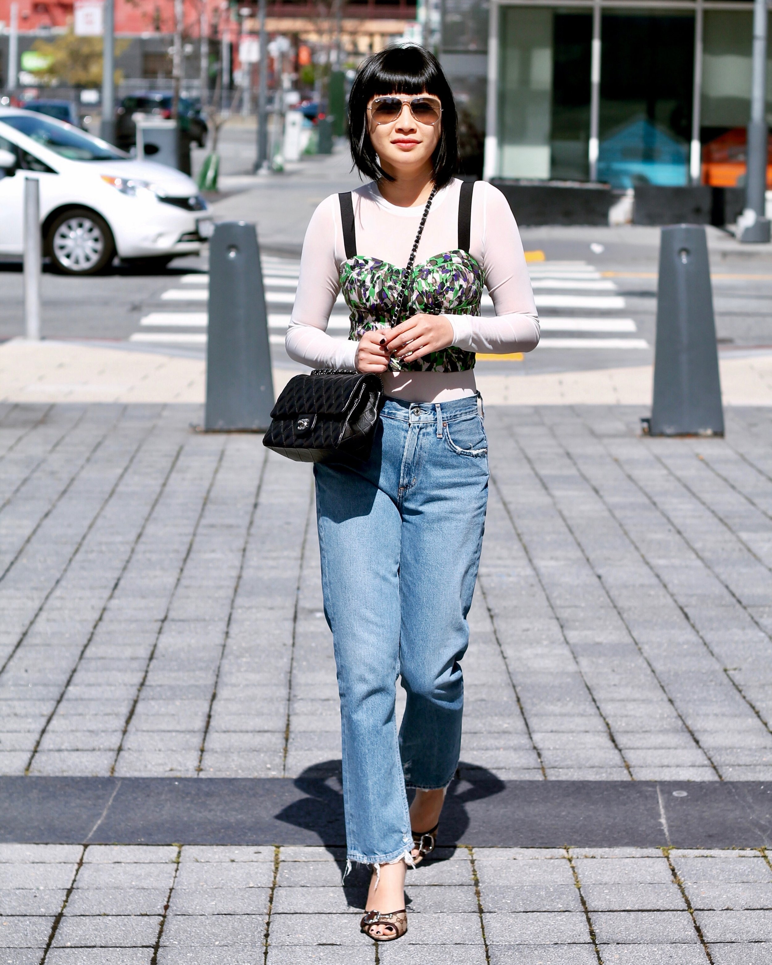 Club Monaco bustier top, Aritzia   t-shirt, Gucci shoes, Chanel bag, Ray-Ban sunglasses