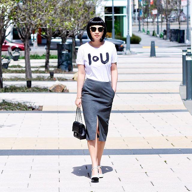 Midi-skirt and T-shirt is my staple ensemble.