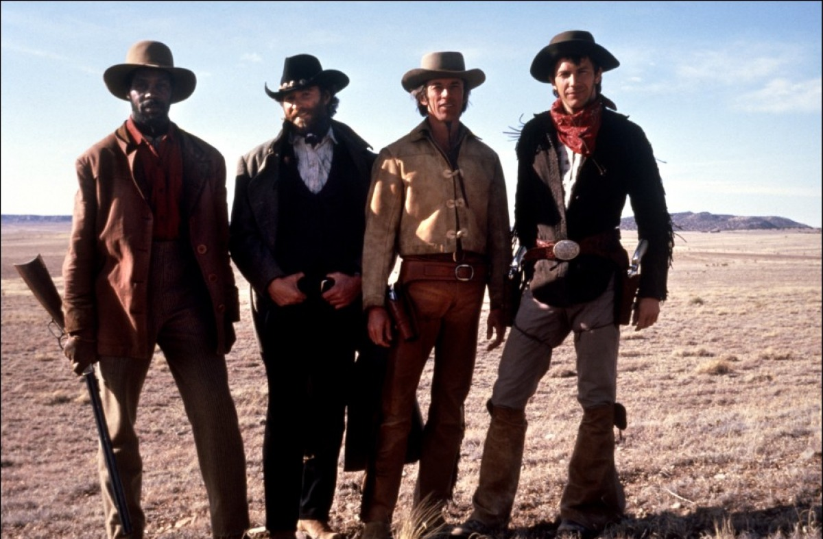 "Danny Glover, Kevin Kline, Scott Glenn and Kevin Costner in ""Silverado"""