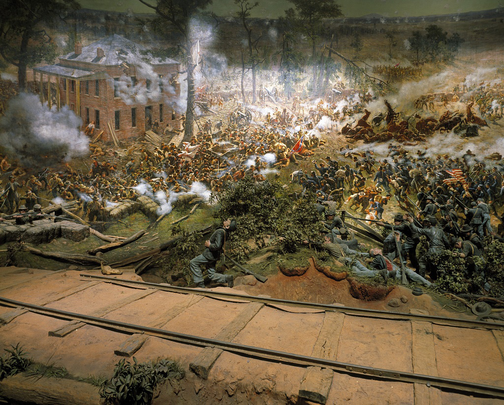 This is not one of our photos. There is no photography allowed of the painting/diorama so I pinched this off google. It shows a tiny part of the painting and a few of the 3D figures, but is a good indication of the work that went into creating it.