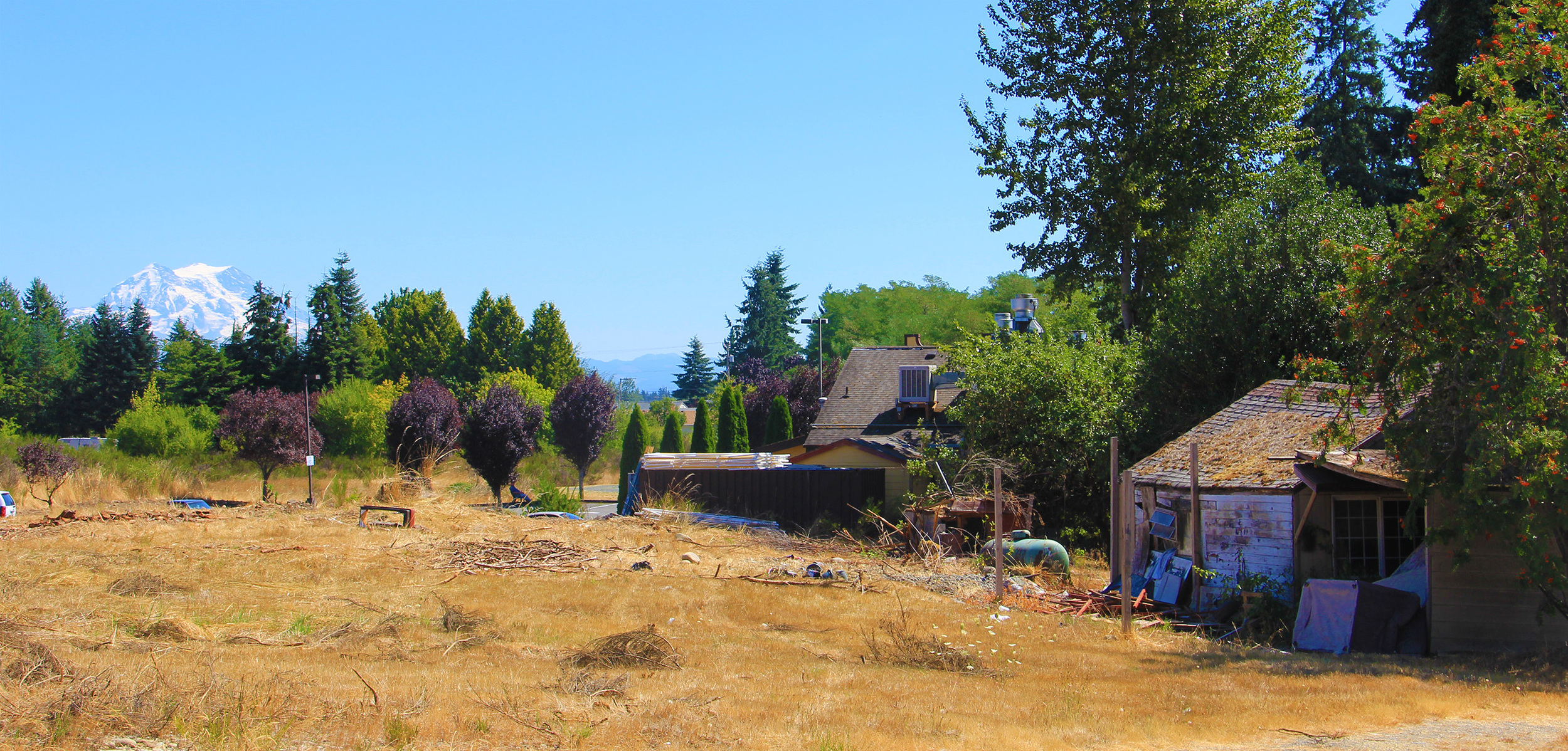 I took this photo from a vacant lot in Yelm. You can just see the tip of the mountain on the left. This home has a nice view of the mountain. It appeared that someone still lived there. It's often hard to tell the difference between lived-in and abandoned in a lot of rural communities here.