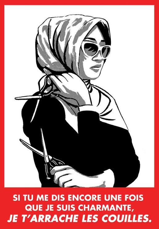Couilles, Collectif Lilith's Revolution, 2014, Belgique L'affiche fait partie d'une série réalisée pour lutter contre le harcèlement de rue.