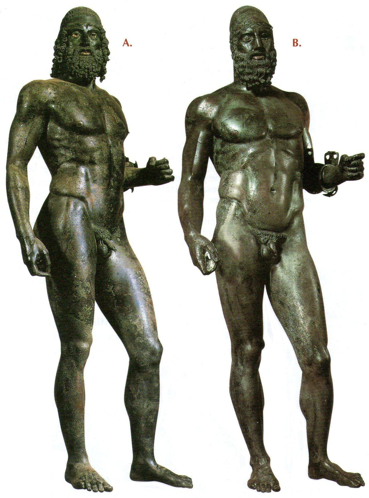 Riace Bronzes or the Riace Warriors, the pair of life size statues depict naked Greek warriors and were created between 460–420 BC.
