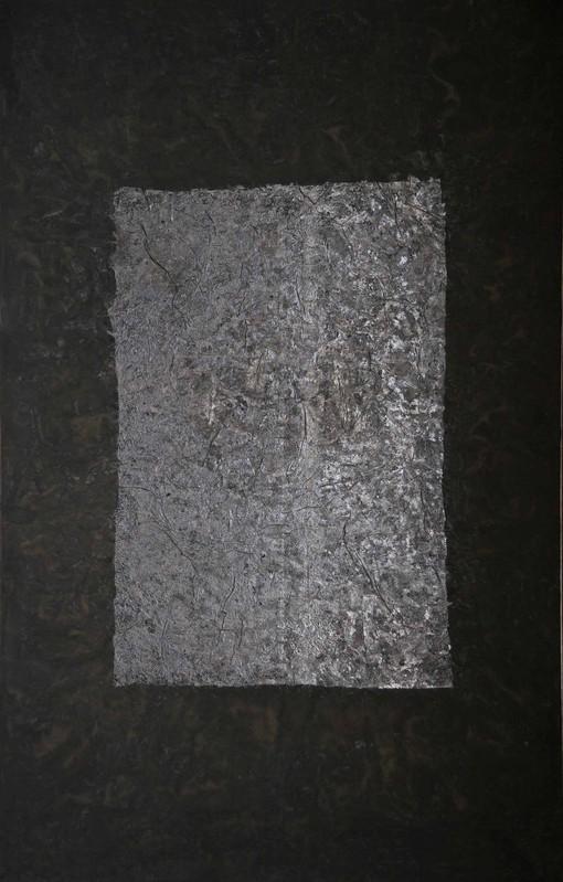 Yang Jiechang , 100 layers of ink —On Ascension , 1990  Encre de Chine et matières médicinales sur papier Xuan et gaze —296 ×190 cm Courtesy Jeanne Bucher Jaeger