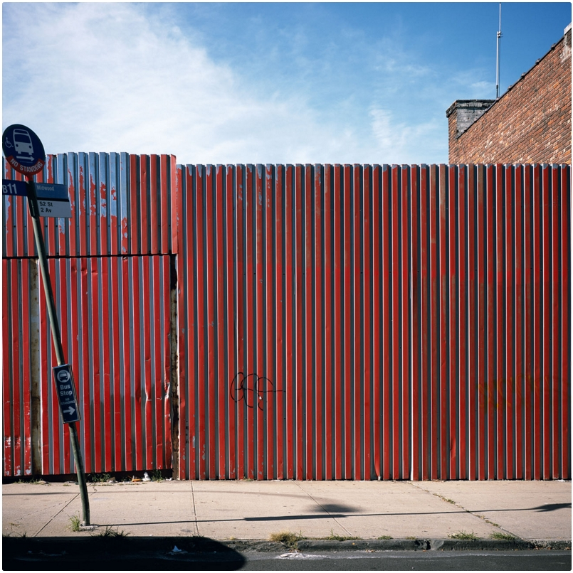 Charles Johnstone   52ND STREET, SUNSET PARK   Cibachrome.   2013.      From the series   BROOKLYN CORRUGATED IRON FENCES.   Signed, dated and numbered   3/3   on the verso.