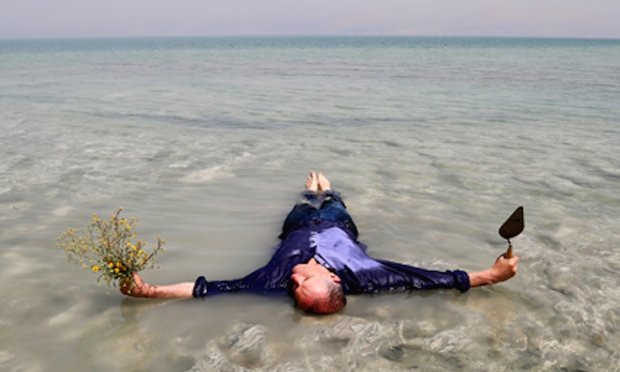 Bill Drummond lying in the Dead (not the Tasman) Sea. Photograph: Tracey Moberly