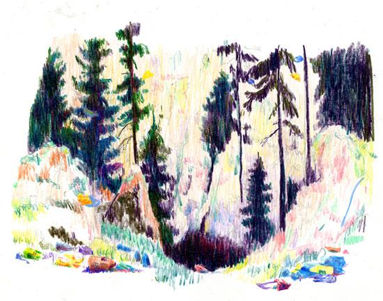 Frédéric Coché : Néandertale. Crayons de couleur. Courtesy galerie de la Ferronerie / Brigitte Négrier