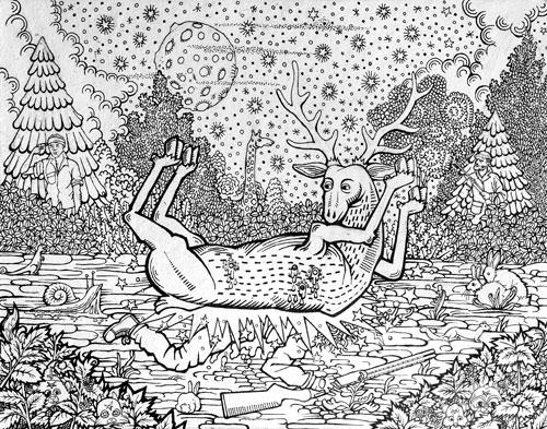 Agathe Pitié : Combardus Mortuis-The Deer Hunter, 2015. Encre de Chine sur papier de cannabis, 24 cm x 32. Agathe Pitié.