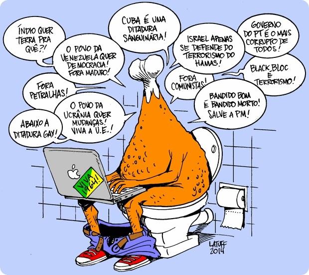 """Une synthèse de la pensée  coxinha , par Carlos Latuff : """"les Indiens veulent de la terre ? Pour quoi faire ? Cuba est une dictature sanguinaire ! Un bon bandit est un bandit mort """" etc."""