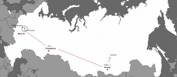Après le CIZO ( CI, CIZO : Centres de détention ) de Butyrka et sa condamnation, Sutuga est envoyé en train vers la Sibérie, où il passe par le centre de détention d'Irkoutsk (CIZO-1) après un transfert par le CI-3 de Chelyabinsk.
