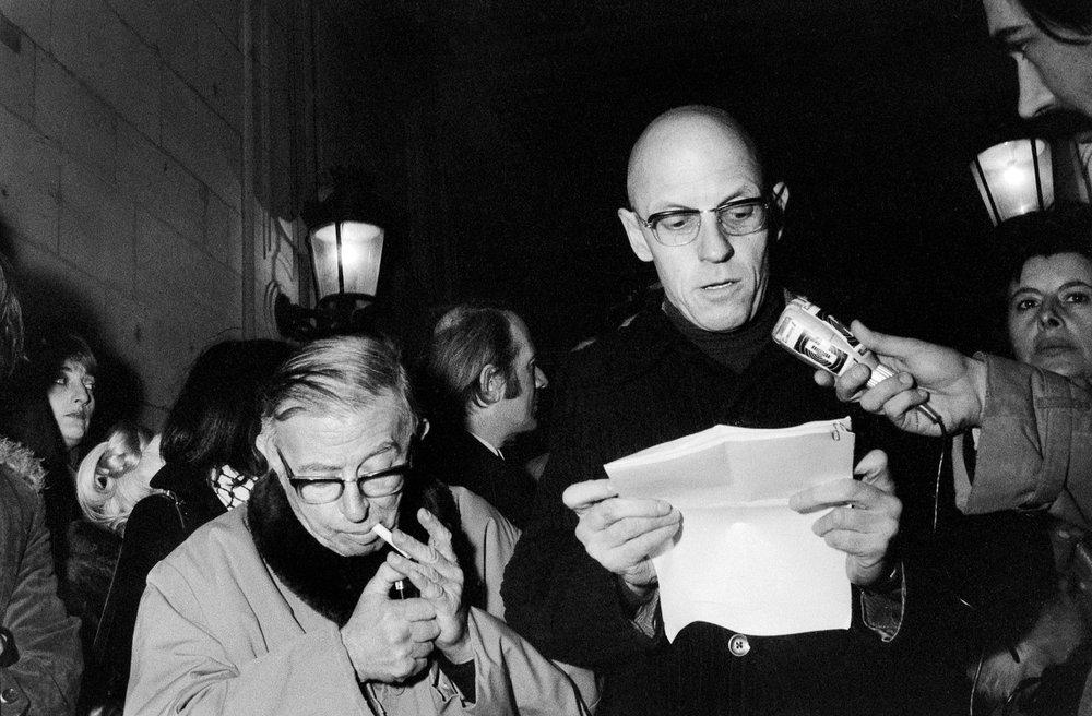 Jean-Paul Sartre, Gilles Deleuze, et Michel Foucault; photo Elie Kagan.
